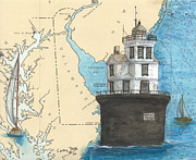 New England Lighthouse Paintings - Fourteen Ft Bank Lighthouse DE Nautical Chart Map art by Cathy Peek