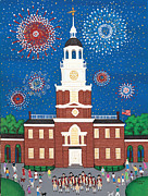 4th July Paintings - Fourth of July at Independence Hall by Patricia Palermino