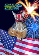 Wildlife Celebration Digital Art - Fourth of July Bunny Rabbit by Jeanette K