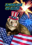 Wildlife Celebration Digital Art - Fourth of July Ferret by Jeanette K