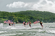 Fourth Of July Water Skiers Print by Susan Leggett