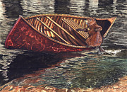 Beaver Painting Prints - Fowler Paddling on the Sweetwater River Print by Dwayne James