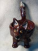 Glass Ceramics - Fox dish made in USA from a lump of clay one of a kind by Debbie Limoli