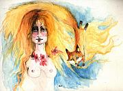 Nudes Drawings Prints - Fox Girl Print by Angel  Tarantella