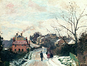 Snowfall Paintings - Fox Hill Upper Norwood by Camille Pissarro