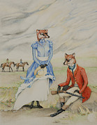 Colored Pencil Drawings Posters - Fox Hunting Poster by Erin Camarca