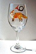 Painted Wine Glass Glass Art - Fox Hunting on Glass by Pauline Ross