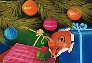 Christmas Greeting Pastels Framed Prints - Fox in a Box Framed Print by Anastasiya Malakhova