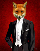 Fox Digital Art - Fox in a evening Suit by Kelly McLaughlan