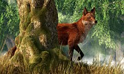 Animal Lover Digital Art - Fox in a Forest by Daniel Eskridge