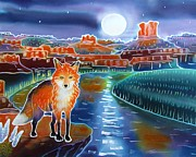 Wildlife Landscape Paintings - Fox in the Moonlight by Harriet Peck Taylor