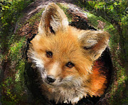 Fox Digital Art Framed Prints - Fox Kit In Log Framed Print by Jane Schnetlage