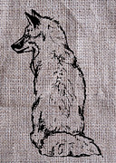 Fox On Burlap  Print by Konni Jensen