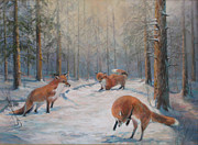 Donna Tucker Art - Fox Play by Donna Tucker
