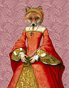 Wall Art Greeting Cards Digital Art Posters - Fox Queen Poster by Kelly McLaughlan