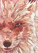 Wolf Portrait Paintings - Fox by Tamara Phillips