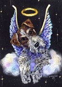 Fox Pastels Prints - Fox Terrier Angel Print by Darlene Grubbs