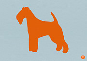 Terrier Digital Art Posters - Fox Terrier Orange Poster by Irina  March