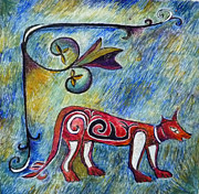 Egg Tempera Painting Metal Prints - Fox Totem Metal Print by Catherine Meyers