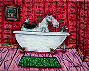 Jay Schmetz Framed Prints - Fox Wire Terrier Taking a Bath Framed Print by Jay  Schmetz