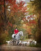 Foxhunting Prints - Foxhunting Autumn Colours Print by Heather Swan