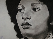 Celebrity Pastels Framed Prints - Foxy Brown Framed Print by Aaron Balderas