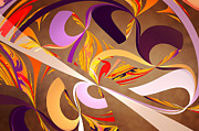 Brown Abstract Digital Art Prints - Fractal - Abstract - Space Time Print by Mike Savad