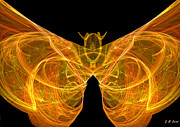 Orange Digital Art Originals - Fractal Butterfly by Michael Durst