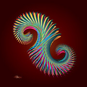 Fractal Feather Spiral Print by Hakon Soreide