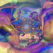 Radiating Digital Art - Fractal Flower by Ursula Freer