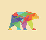 Fractal Framed Prints - Fractal geometric Bear Framed Print by Budi Satria Kwan
