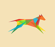Contemporary Posters - Fractal geometric dog Poster by Budi Satria Kwan