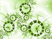 Clocks Digital Art Digital Art - Fractal Green Clocks by Gabiw Art