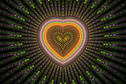Fractal Designs Prints - Fractal Heart 1 Print by Sandy Keeton