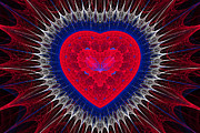 Fractal Design Framed Prints - Fractal Heart 3 Framed Print by Sandy Keeton