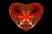 Reds Photo Prints - Fractal - Heart - Open heart Print by Mike Savad