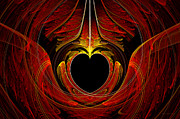 Reds Prints - Fractal - Heart - Victorian love Print by Mike Savad