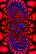 Op Art Digital Art Posters - Fractal in Red and Blue Poster by Stephen Conroy