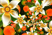 Bright Decor Posters - Fractal Orange Blossoms Poster by Peggi Wolfe