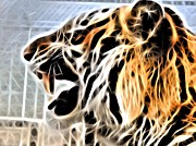 Tiger Fractal Photos - Fractal Roar by Deniece Platt