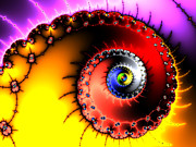 Wild Imagination Prints - Fractal spiral bold colors yellow red and purple Print by Matthias Hauser