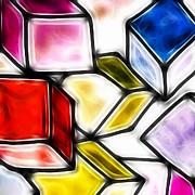 Fractalius Cubes Print by Sharon Lisa Clarke