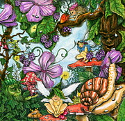 Strawberry Drawings Posters - Fractured Fairy finds acceptance Poster by Julie McDoniel