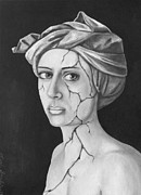 Head Wrap Framed Prints - Fractured Identity BW Framed Print by Leah Saulnier The Painting Maniac