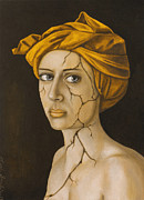 Head Wrap Framed Prints - Fractured Identity in Gold Framed Print by Leah Saulnier The Painting Maniac