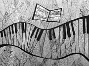 Cubist Drawings Framed Prints - Fractured Piano Pen and Ink Drawing Framed Print by Ashley Grebe