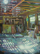 Beam Paintings - Fragile Barn Illuminated by Gloria  Nilsson