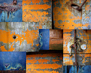 Blue And Rust Framed Prints - Fragments Antique Metal Framed Print by Ann Powell