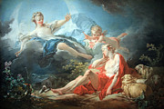 Fragonard Framed Prints - Fragonards Diana And Endymion Framed Print by Cora Wandel