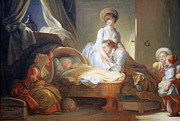 Fragonard Prints - Fragonards The Visit To The Nursery Print by Cora Wandel